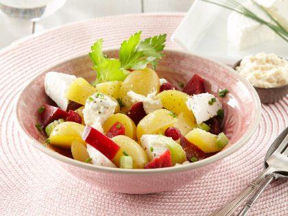 Salade de Pompadour Label Rouge, chèvre et betterave