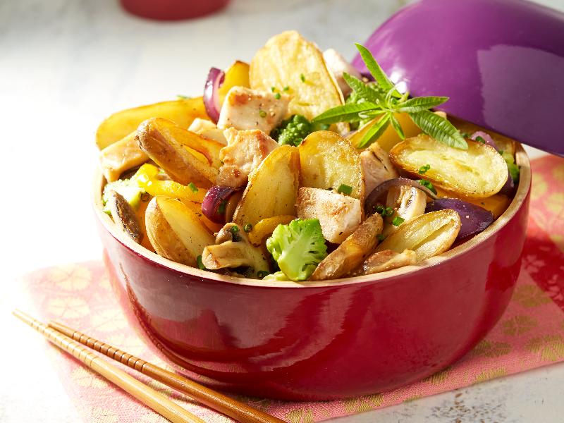 Wok de Ratte du Touquet au poulet